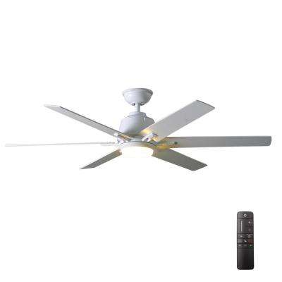 Integrated led indoor white ceiling fan with light kit and remote control