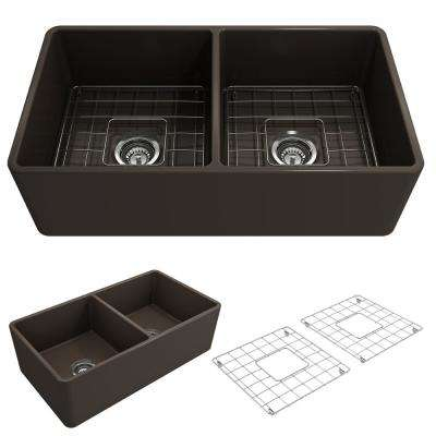 Classico Farmhouse Apron Front Fireclay 33 in. Double Bowl Kitchen Sink with Bottom Grid and Strainer in Matte Brown