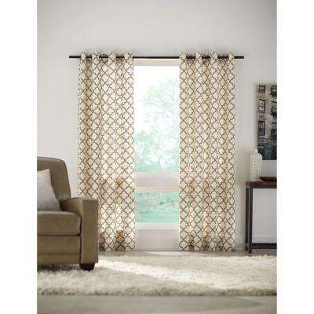 Semi-Opaque Sand Lattice Luxe Flocked Grommet Curtain - 52 in. W x 84 in. L