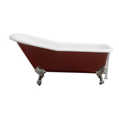 66 in. Cast Iron Clawfoot Non-Whirlpool Bathtub in Red