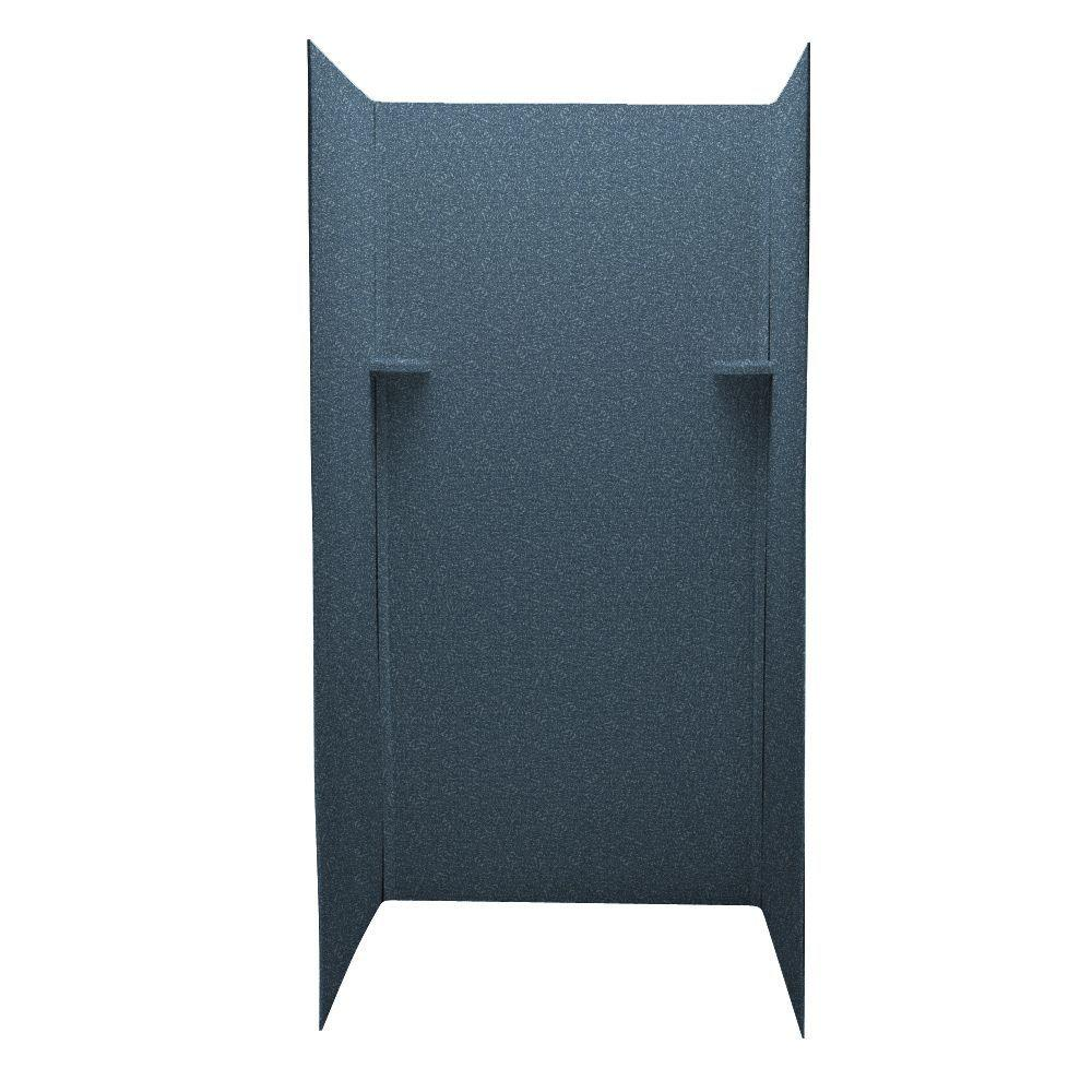 Swan Pebble 36 in. x 36 in. x 72 in. Three Piece Easy Up Adhesive Shower Wall Kit in Wild Indigo-DISCONTINUED