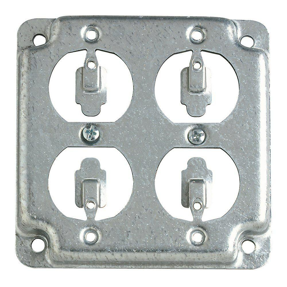 """Thomas /& Betts RS-2 Steel City 4/"""" Square Raised Cover Combo Switch//Receptacle bx"""