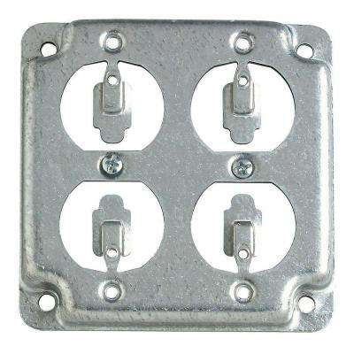 2-Gang 4 in. Square Metal Electrical Box Surface Cover Double Duplex (Case of 10)