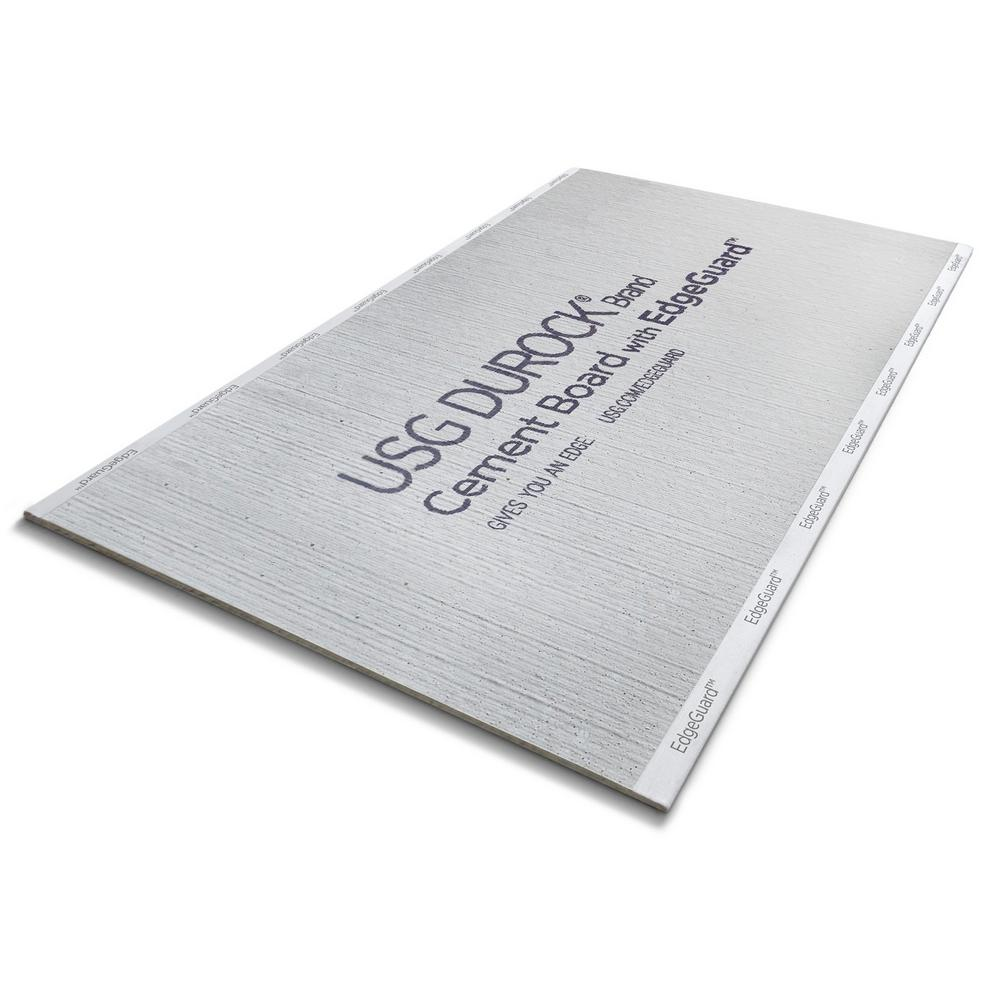 USG Durock Brand 1/2 in  x 3 ft  x 5 ft  EdgeGuard Cement Board