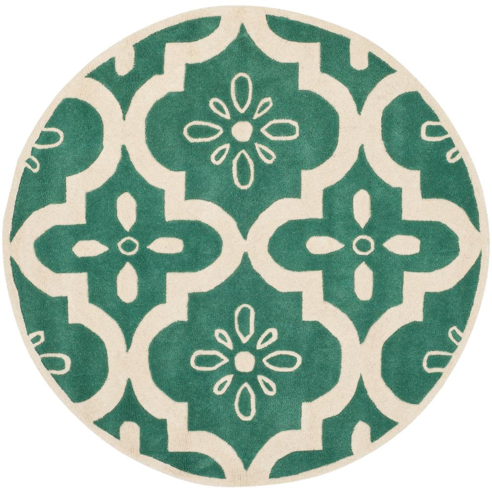 Safavieh Chatham Teal/Ivory 5 Ft. X 5 Ft. Round Area Rug
