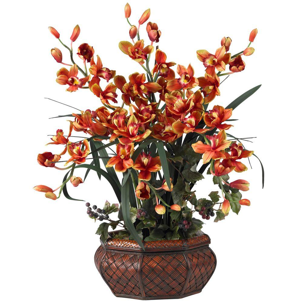H Burgundy Large Cymbidium Silk Flower Arrangement