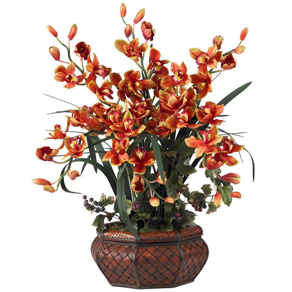 Nearly Natural 36 In H Burgundy Large Cymbidium Silk Flower Arrangement 1199 Bg The Home Depot