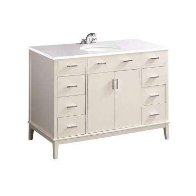Urban Loft 48 in. Bath Vanity in Soft White with Quartz Marble Vanity Top in White with White Basin