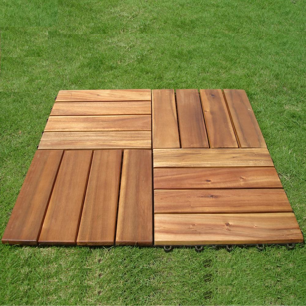 Wood Deck Tile Outdoor Balcony Interlocking Acacia Hardwood Patio