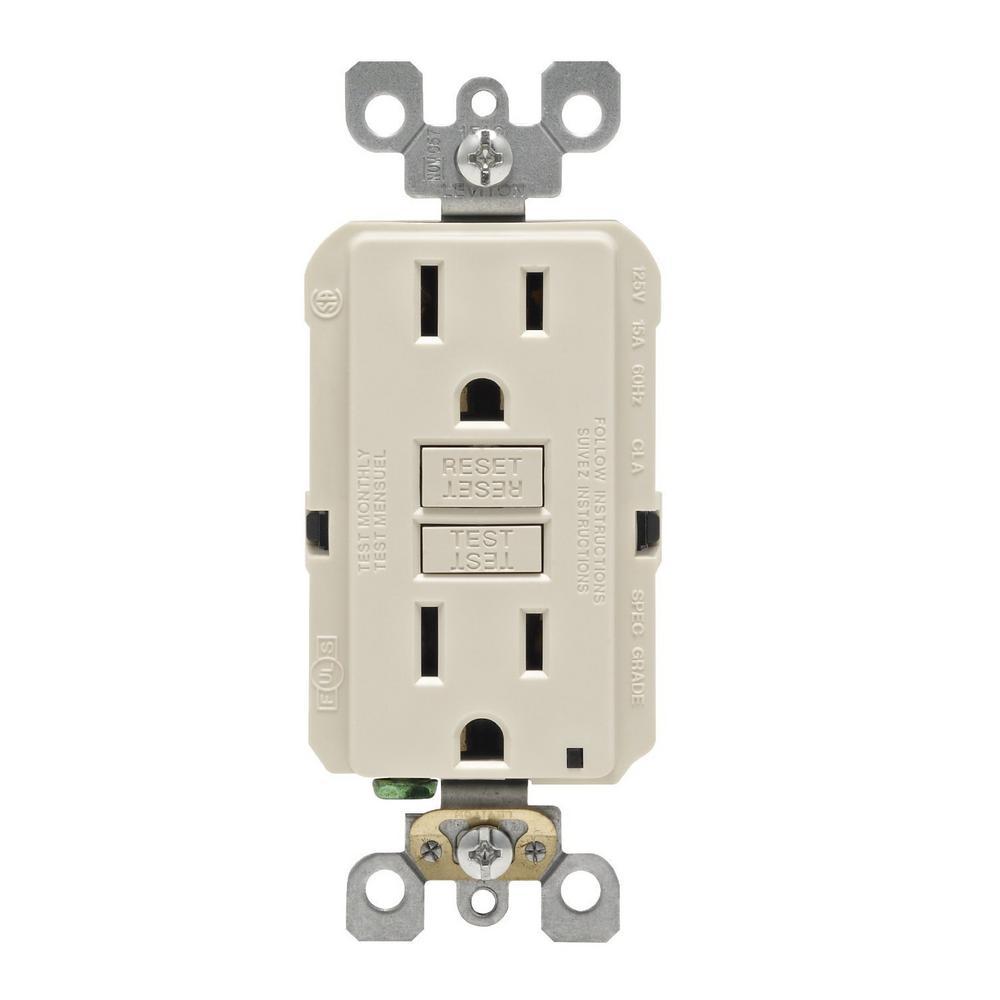 Leviton 15 Amp Self-Test SmartlockPro Slim Duplex GFCI Outlet, Light Almond