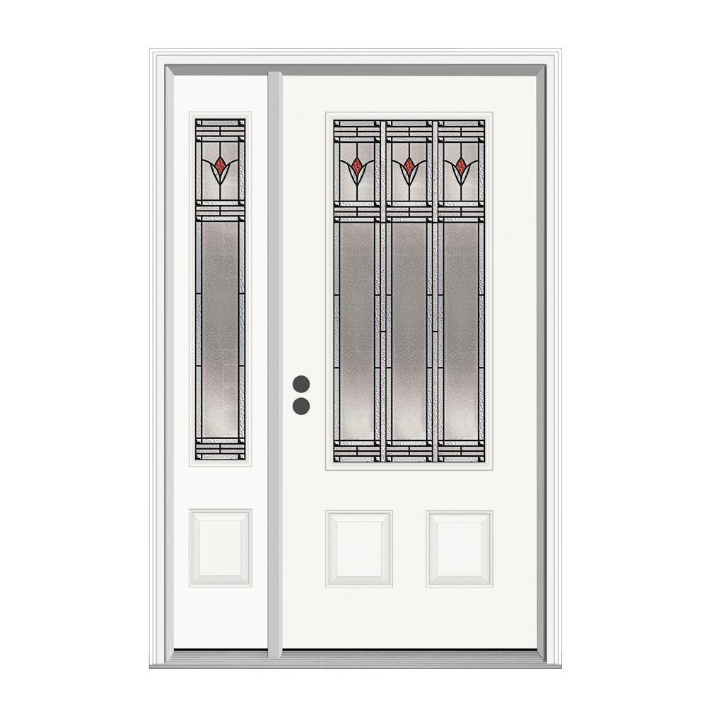 JELD-WEN Arum 3/4 Lite Steel Prehung Front Door with 12 in. Side Lite