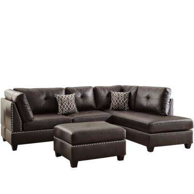 Florence 3 Piece Espresso Sectional Sofa In Leatherette With Ottoman
