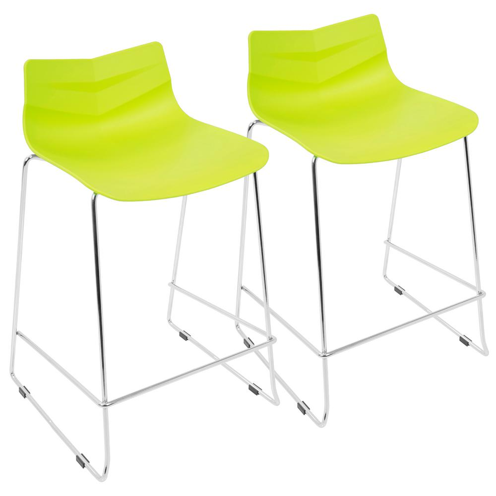 Lime Green Stackable Counter Stool Set Of 2