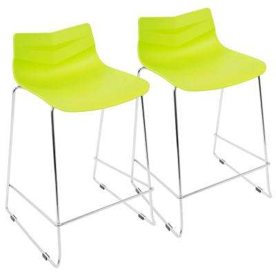 Arrow 25 in. Lime Green Stackable Counter Stool (Set of 2)