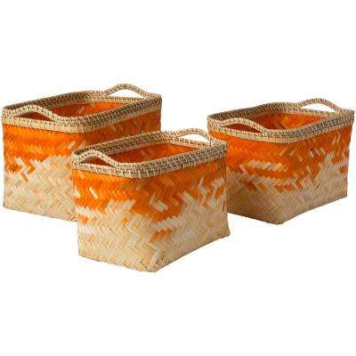 Ivoro Bright Orange Bamboo 12.2 in. x 9.8 in., 15 in. x 10.6 in., 17.7 in. x 11.8 in. 3-Piece Basket Set