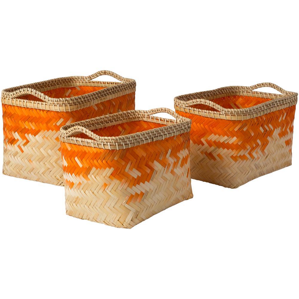 Ivoro Bright Orange Bamboo 12.2 in. x 9.8 in., 15 in. x 10.6 in., 17.7 in. x 11.8 in. 3-Piece Basket Set