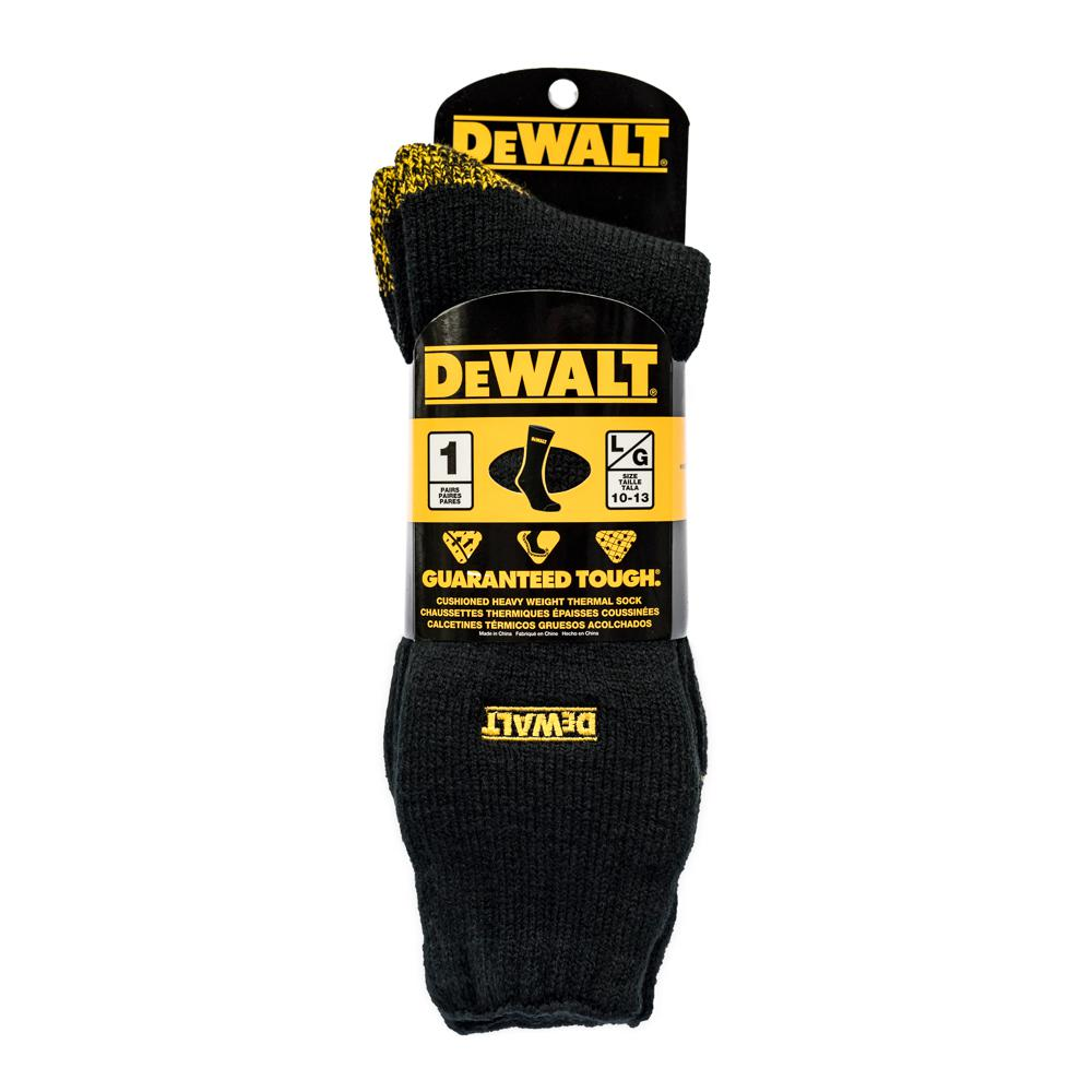 Men 10-13 Black Brushed Heat Thermal Work Sock