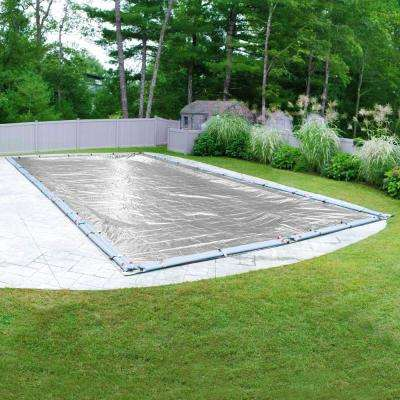 Silverado 25 ft. x 50 ft. Pool Size Rectangular Silver Solid In-Ground Winter Pool Cover