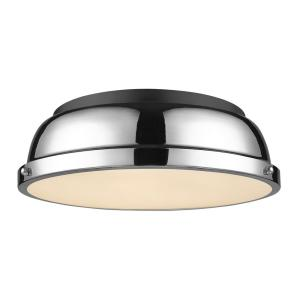 Duncan 14 in. Flush Mount in Black with a Chrome Shade