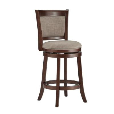 24 in. Ashbury Gray Swivel Cushioned Bar Stool