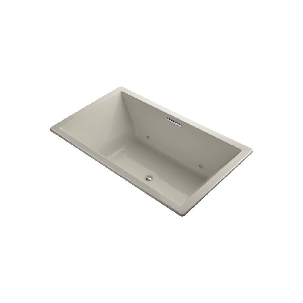 KOHLER Underscore 6 ft. Rectangle Center Drain Soaking Tub in Sandbar