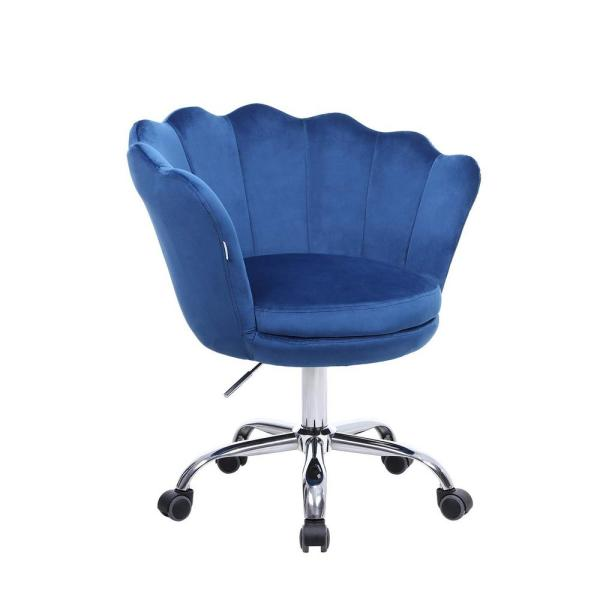 Boyel Living Blue Velvet Swivel With 360 Castor Wheels Office Desk Chair Shell Accent Chair Height Adjustable Accent Chair Wf Hfsn 109b The Home Depot