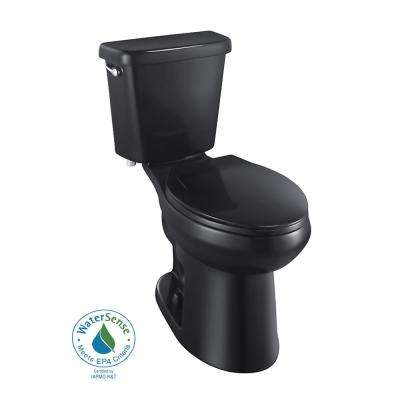 2-piece 1.0 GPF Single Flush Elongated Toilet in Black