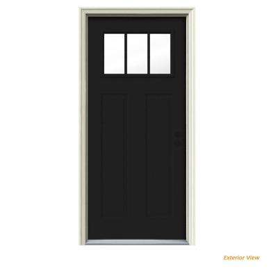 30 in. x 80 in. 3 Lite Craftsman Black Painted Steel Prehung Left-Hand Inswing Front Door w/Brickmould