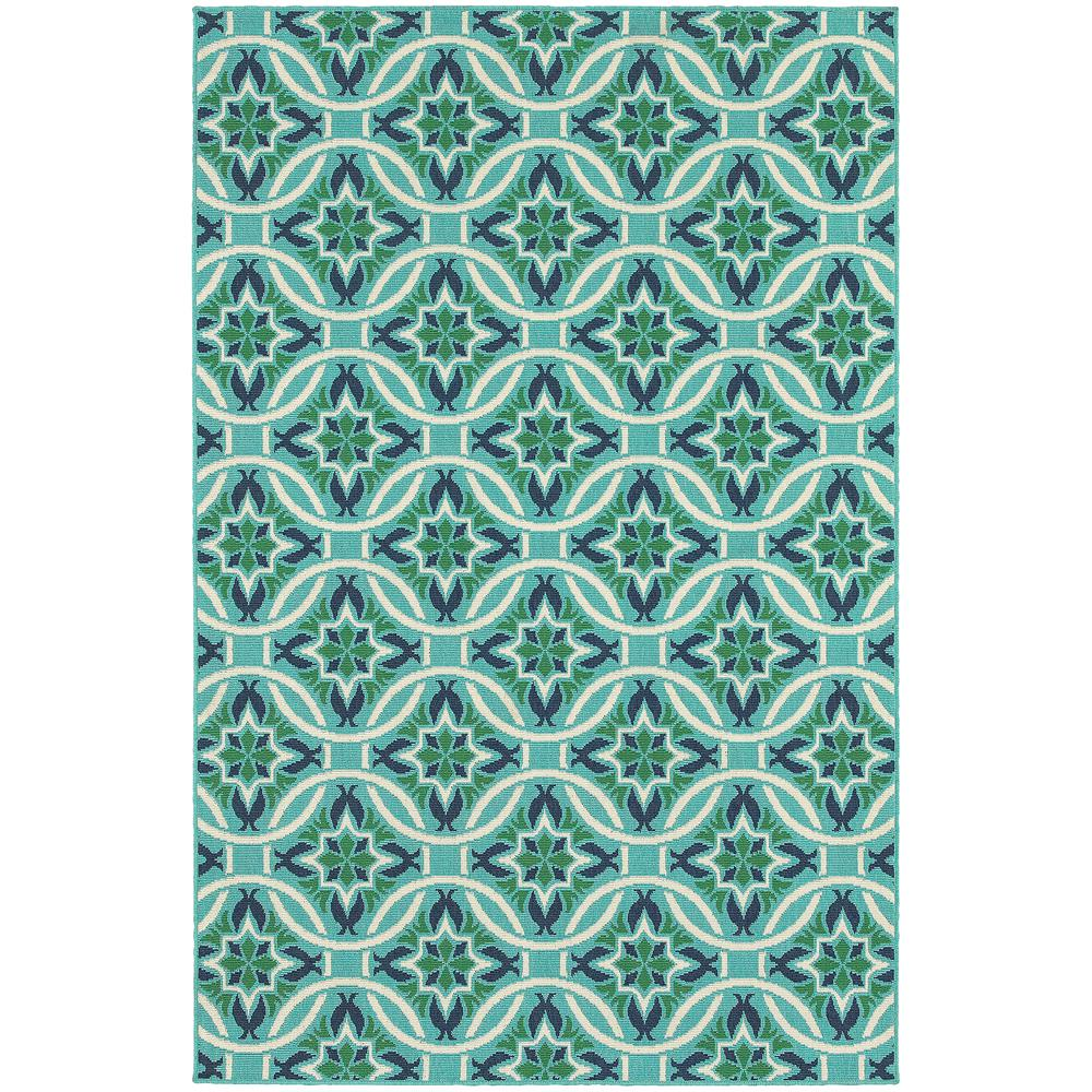 Home Decorators Collection Trinidad Blue 6 Ft 7 In X 9 Ft 6 In Indoor Outdoor Area Rug