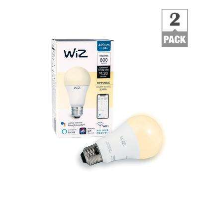 60W Equivalent A19 Dimmable White Wi-Fi Connected Smart LED Light Bulb, 2700K (2-Pack)