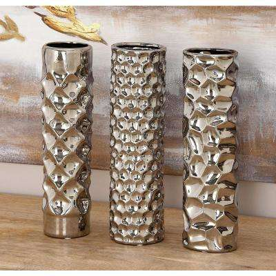 12 in. Textured Metallic Ceramic Decorative Vase (Set of 3)