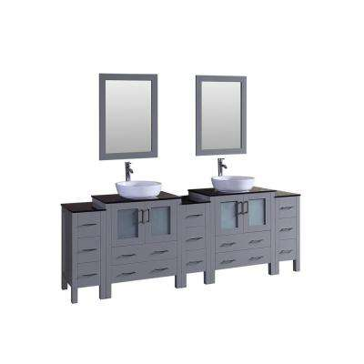 96 in. Double Vanity in Gray with Tempered Glass Vanity Top in Black with White Basin and Mirror