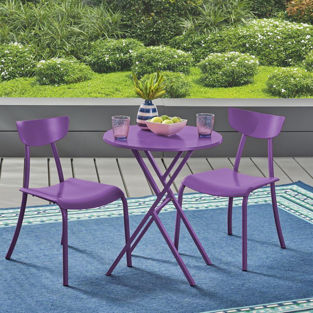 Lina Matte Purple 3-Piece Metal Outdoor Bistro Set
