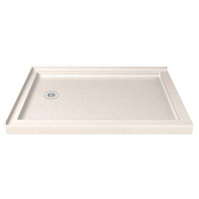 SlimLine 48 in. W x 34 in. D Double Threshold Shower Base in Biscuit with Left Hand Drain