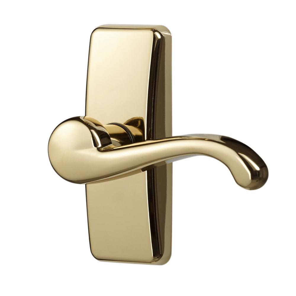 Ideal Security E Coat Brass Storm Door Lever Handle Set
