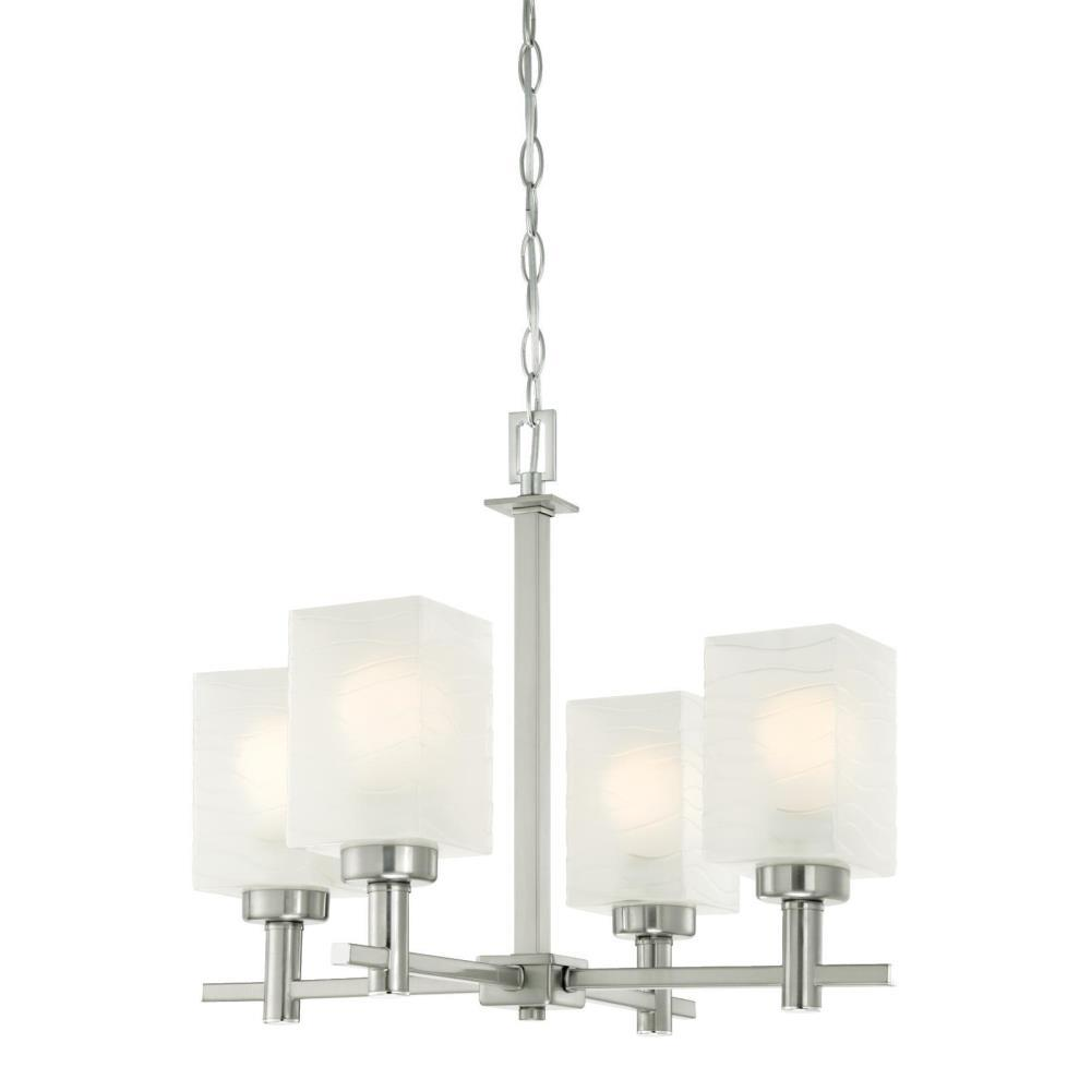 Westinghouse Ingram 4-Light Brushed Nickel Chandelier with Wavy White Glazed Glass Shades