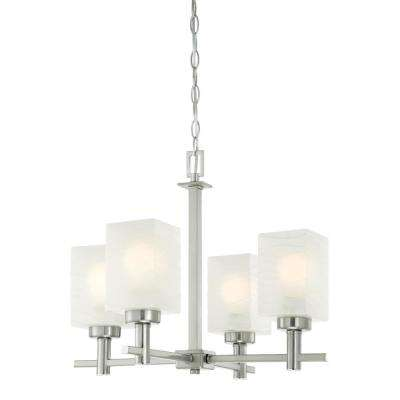 Ingram 4-Light Brushed Nickel Chandelier with Wavy White Glazed Glass Shades