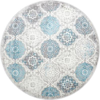 Boho Gray/Blue 5 ft. 2 in. Indoor Round Area Rug