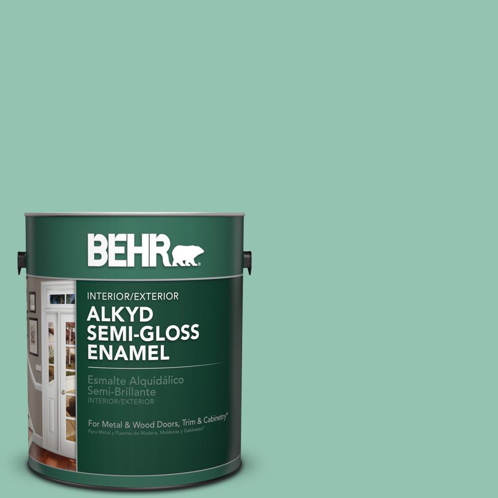 1 gal. #M420-4 Jade Mountain Semi-Gloss Enamel Alkyd Interior/Exterior Paint