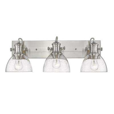 Hines 3-Light Pewter with Seeded Glass Bath Vanity Light