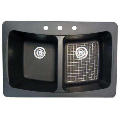 3 Hole Double Bowl Kitchen Sink With Drains And