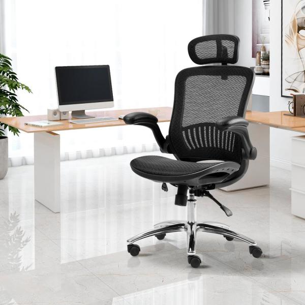 Merax Black Ergonomic Adjustable Mesh Home Office Chair Pp190218aaa The Home Depot