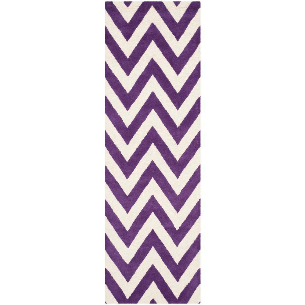 Cambridge Purple/Ivory 3 ft. x 12 ft. Runner Rug