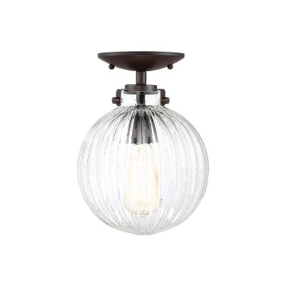 1-Light Oil Rubbed Bronze Semi-Flush Mount with Clear Ribbed Glass