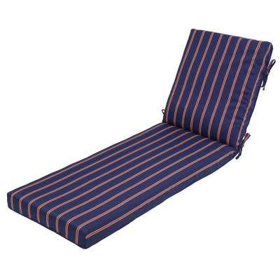 Midnight Ruby Stripe Outdoor Chaise Lounge Cushion