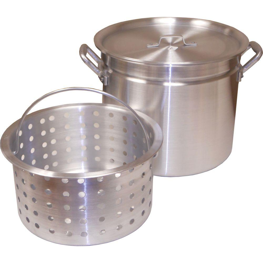 32 qt. Aluminum Ridged Pot with Punched Aluminum Basket