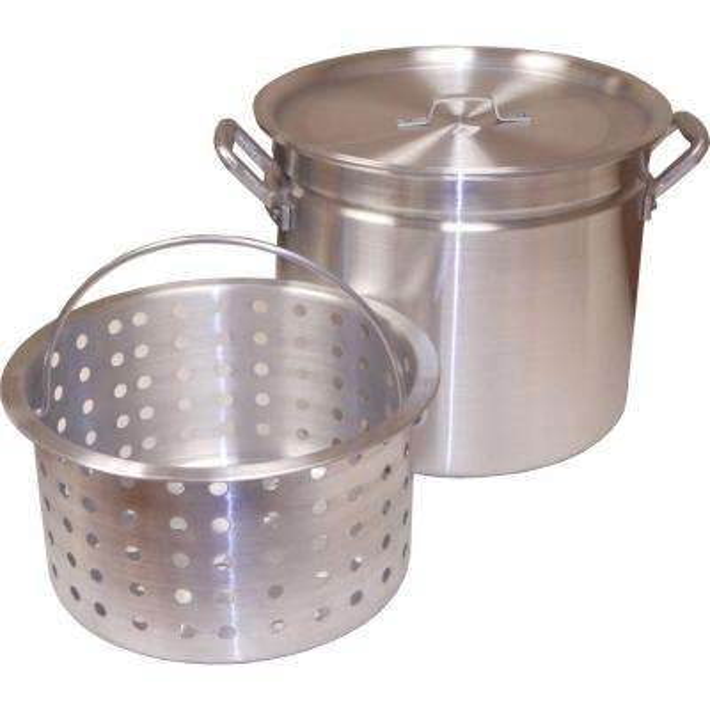 60 qt. Aluminum Ridged Pot with Punched Aluminum Basket