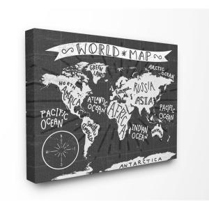 16 In X 20 Kids World Map Black And White Nursery By Daphne Poli Canvas Wall Art