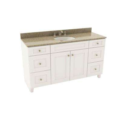 Reading 61 in. Vanity in Linen with Silestone Quartz Vanity Top in Quasar and Oval White Sink