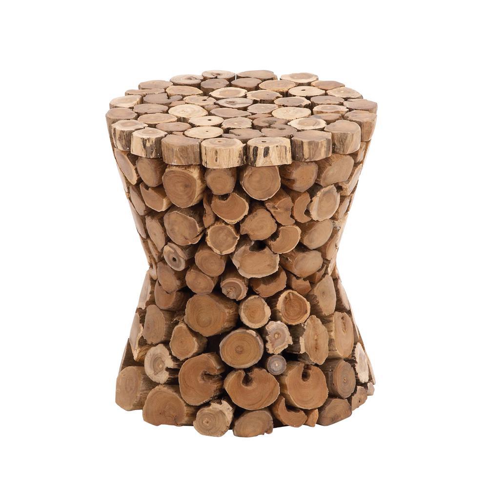 17 in. Brown Tapered Round Teak Wood Stool